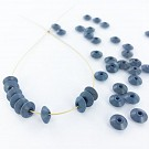 Wooden beads disc 7mm grey