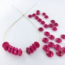 Wooden beads disc 7mm pink