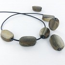 Beads oval 19mm grey