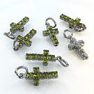crystal rhinestone pendants cross green