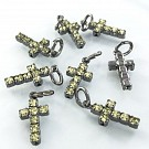 crystal rhinestone pendants cross yellow