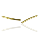 tube beads 25mm gold color curved