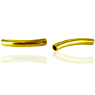 tube beads 26mm gold color curved