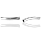 tube beads 26mm silver plated curved