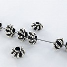 Metal beads 8mm round old silver