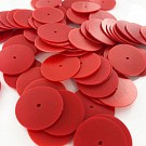 Sequins round flat 18mm red