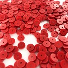 Sequins round flat 6mm red