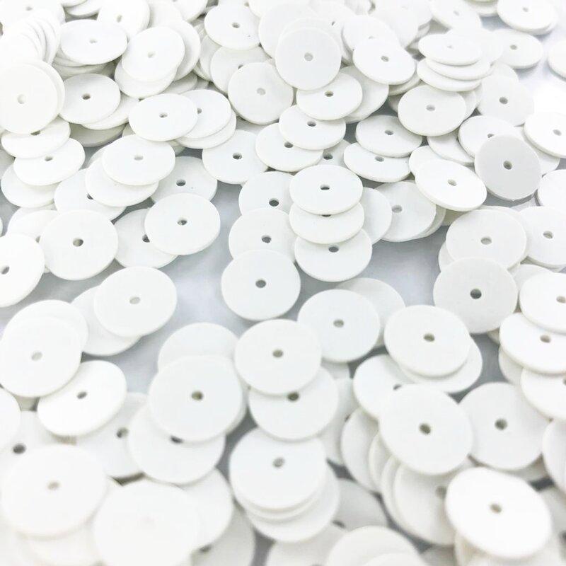 Sequins round flat 8mm white